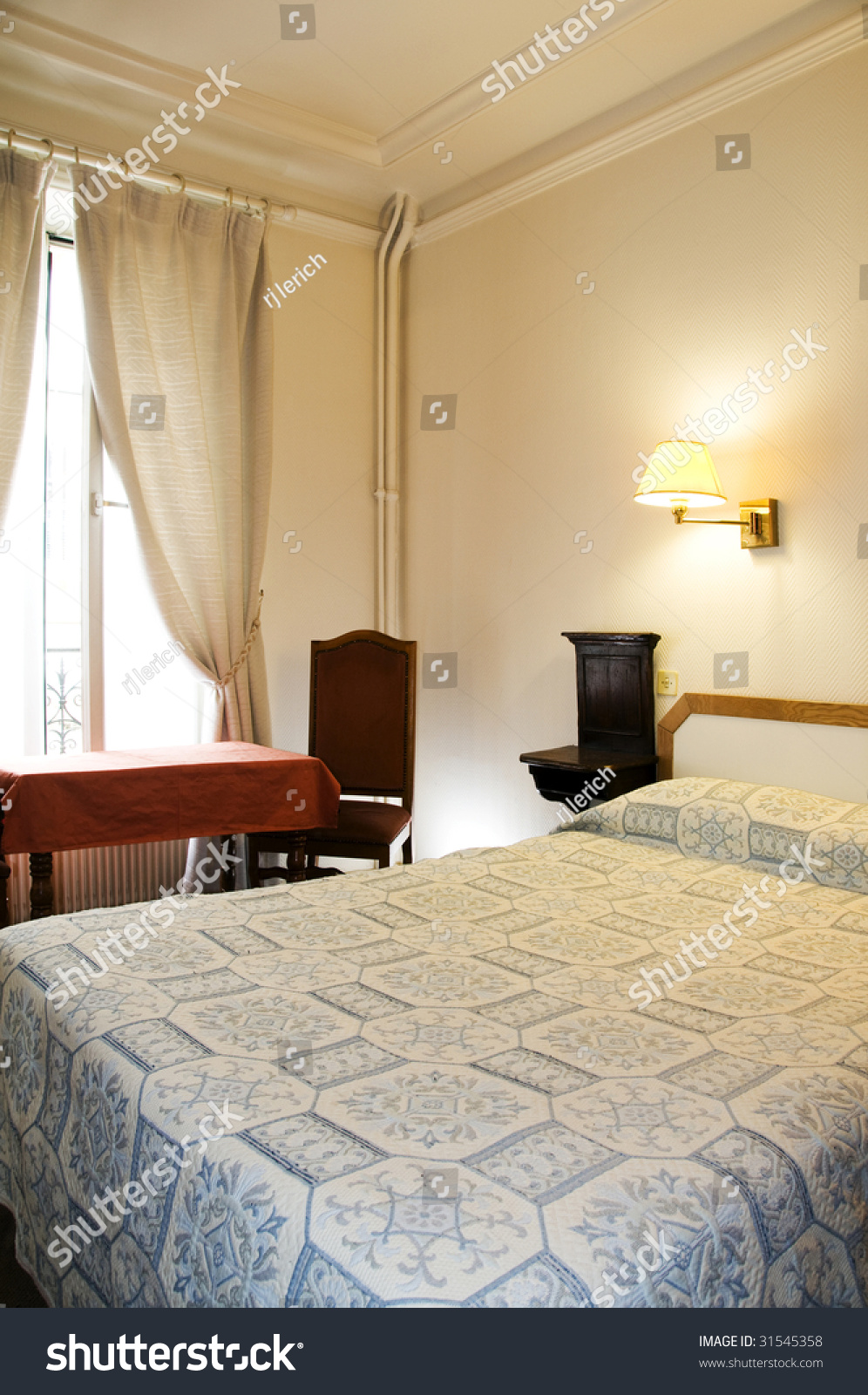 Typical Two Star Hotel Room Paris France In The Latin