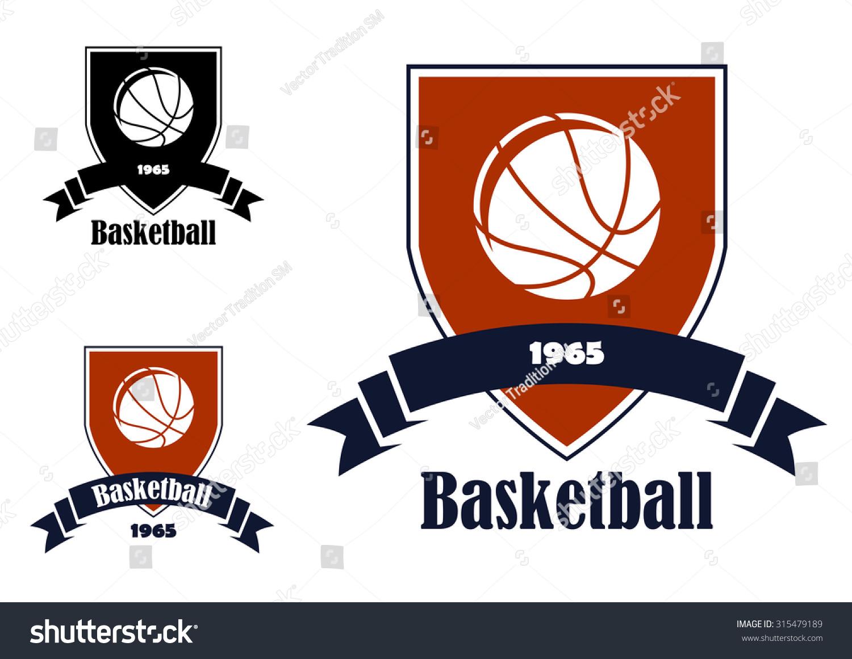 Basketball Sports Emblems Symbols Team Club Stock Illustration