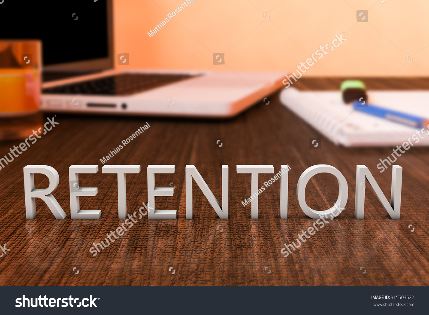 retention letters on wooden desk laptop stock illustration 315503522