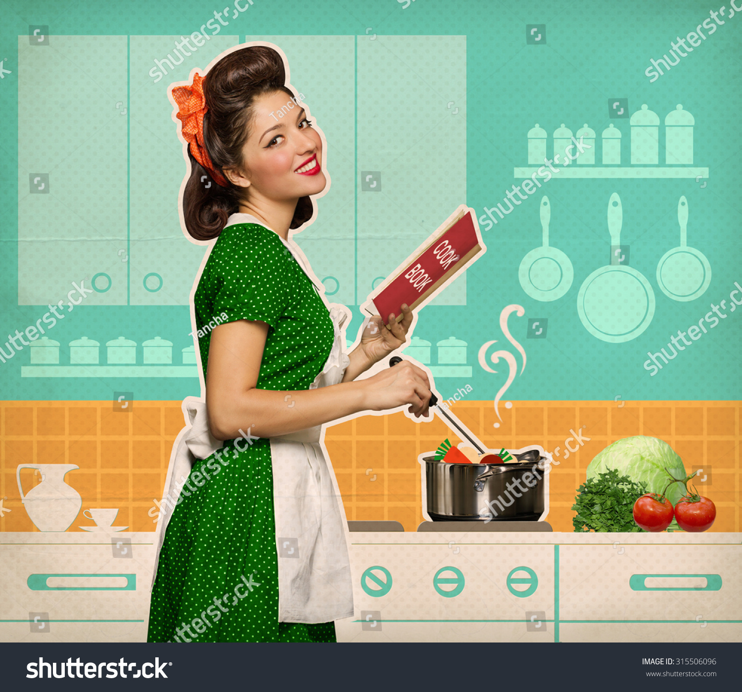 Retro Smiling Woman Cooking And Reading Recipe Book In Her