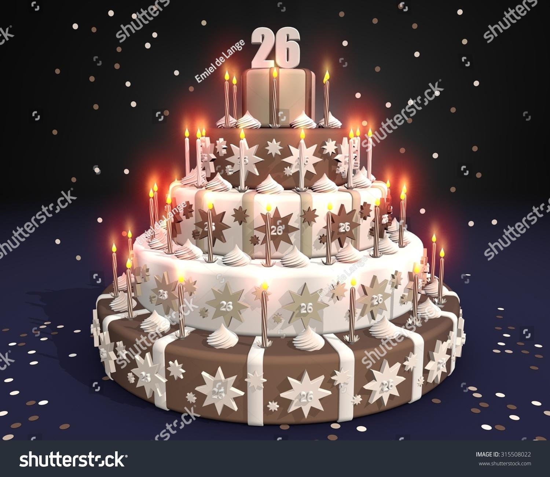 Chocolate Cake Burning Candles Number 26 Stock Illustration