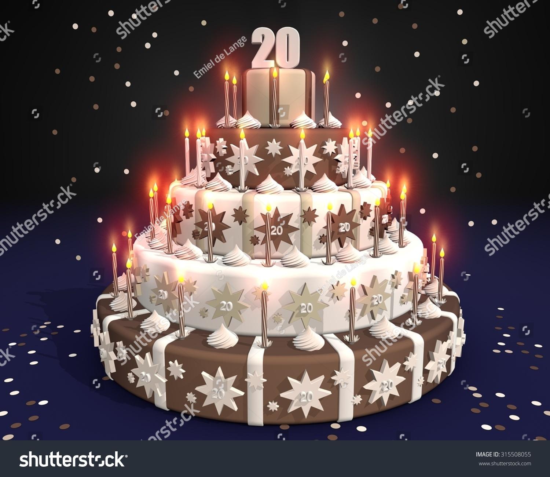 Chocolate Cake Burning Candles Number 20 Stock Illustration