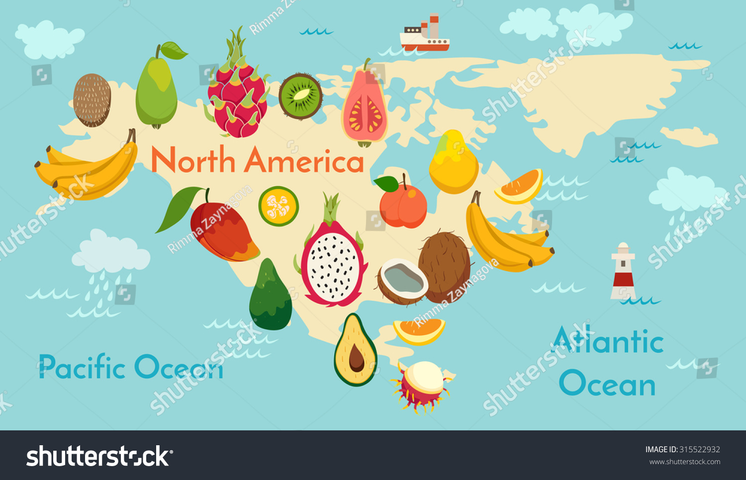 Fruit World Map North America Vector Stock Vector - World map north america