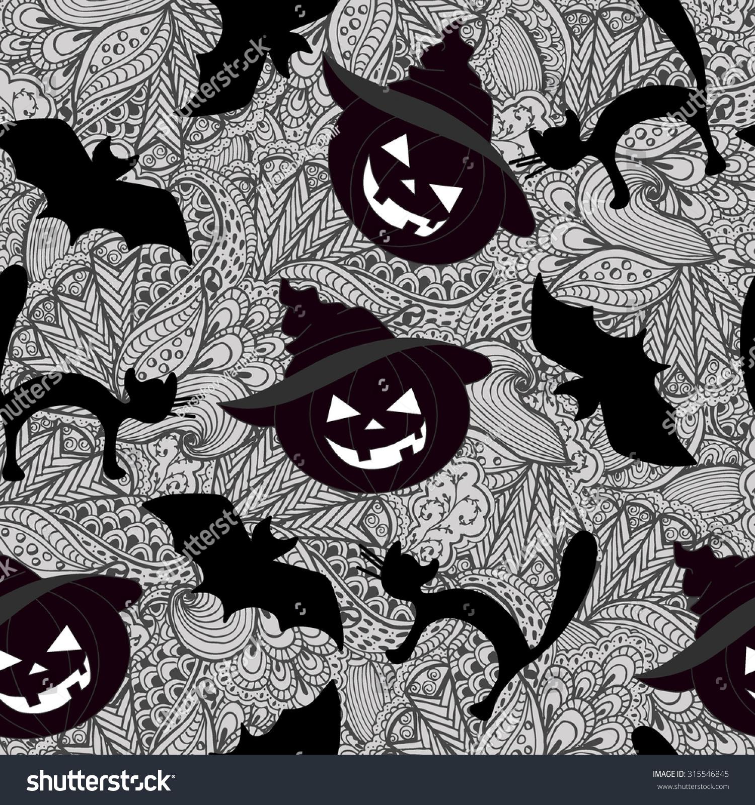 Hand drawn halloween zentangle pattern pumpkin stock