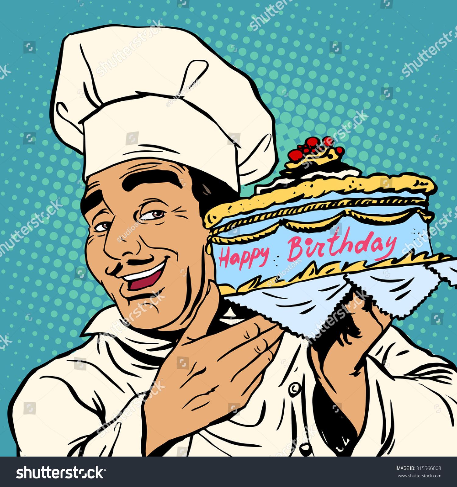 Pastry Chef Birthday Cake Italian Man Stock Illustration 315566003