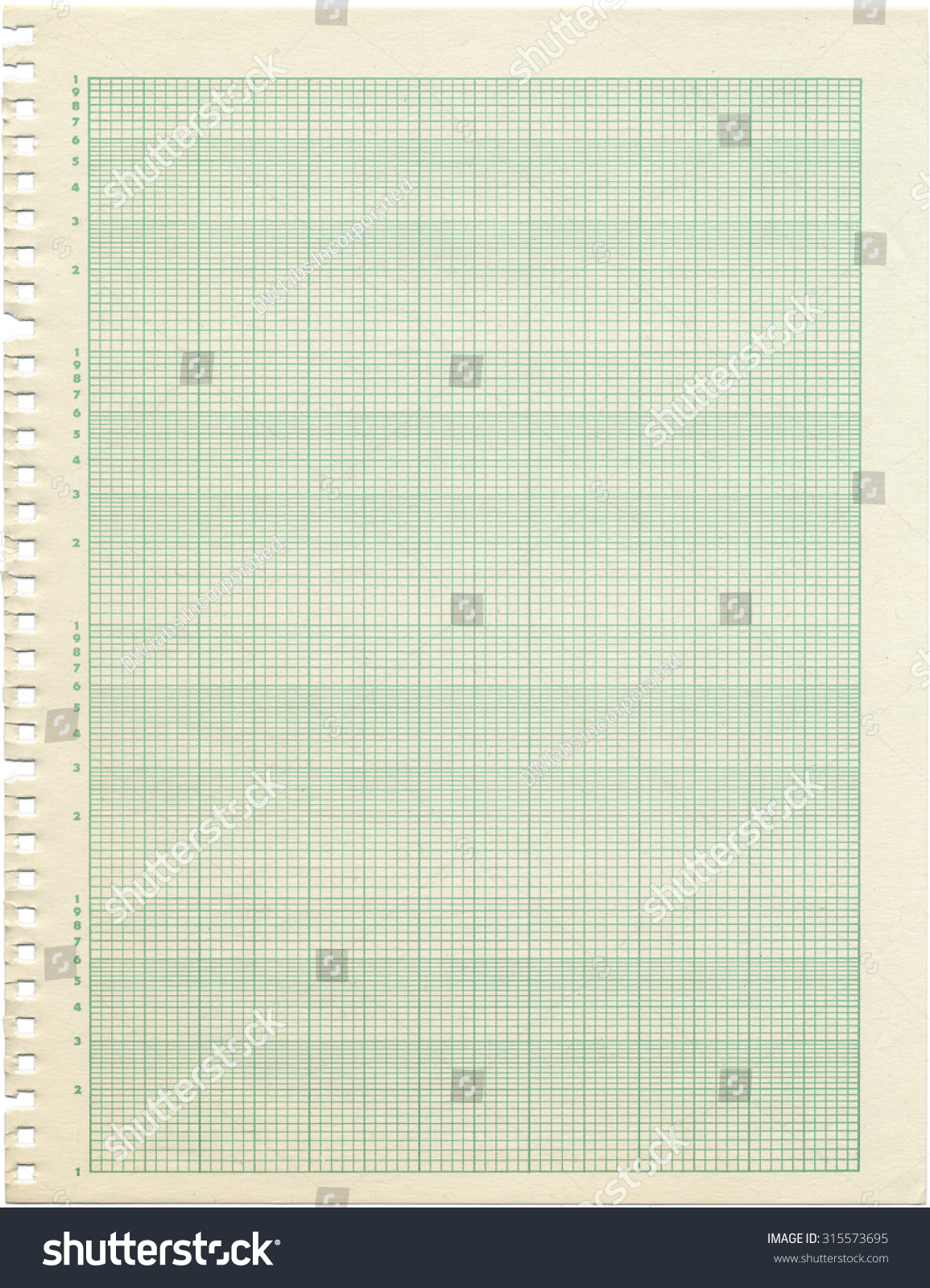 An Old Sheet Of Semi Log Graph Paper. Shows Wear And Discoloration.