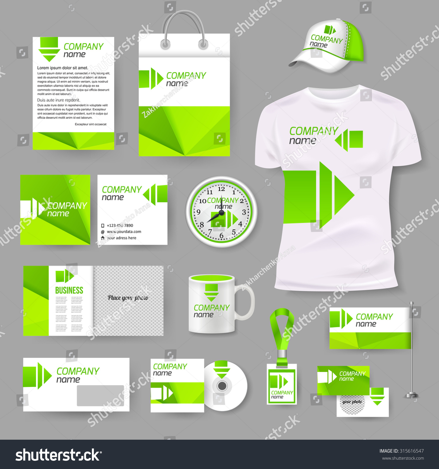 white corporate identity template green elements stock vector