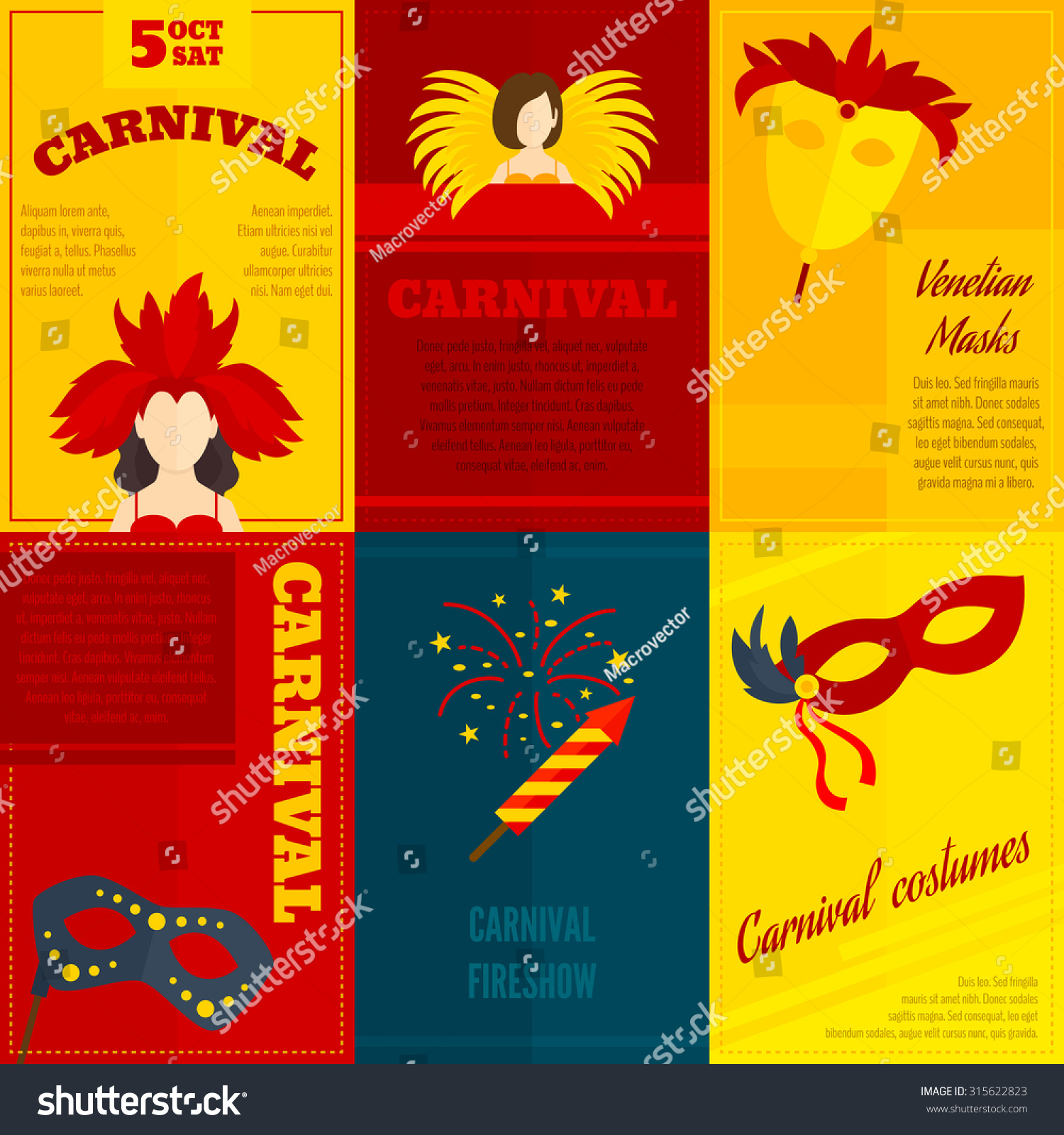 Carnival Venetian Retro Style Full Face Stock Illustration 315622823 ...