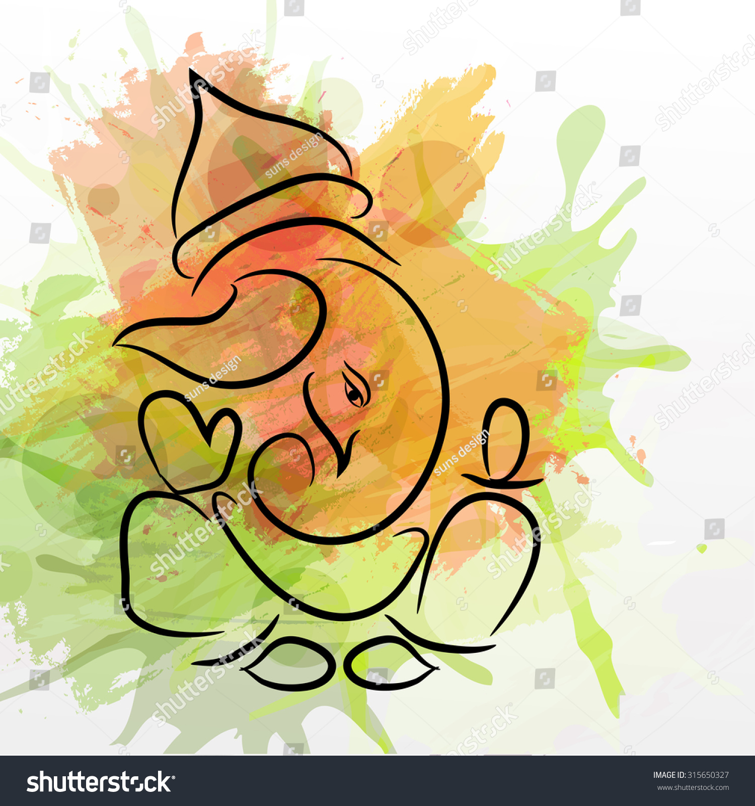 Vector illustration of Lord Ganesh for Ganpati Chaturthi