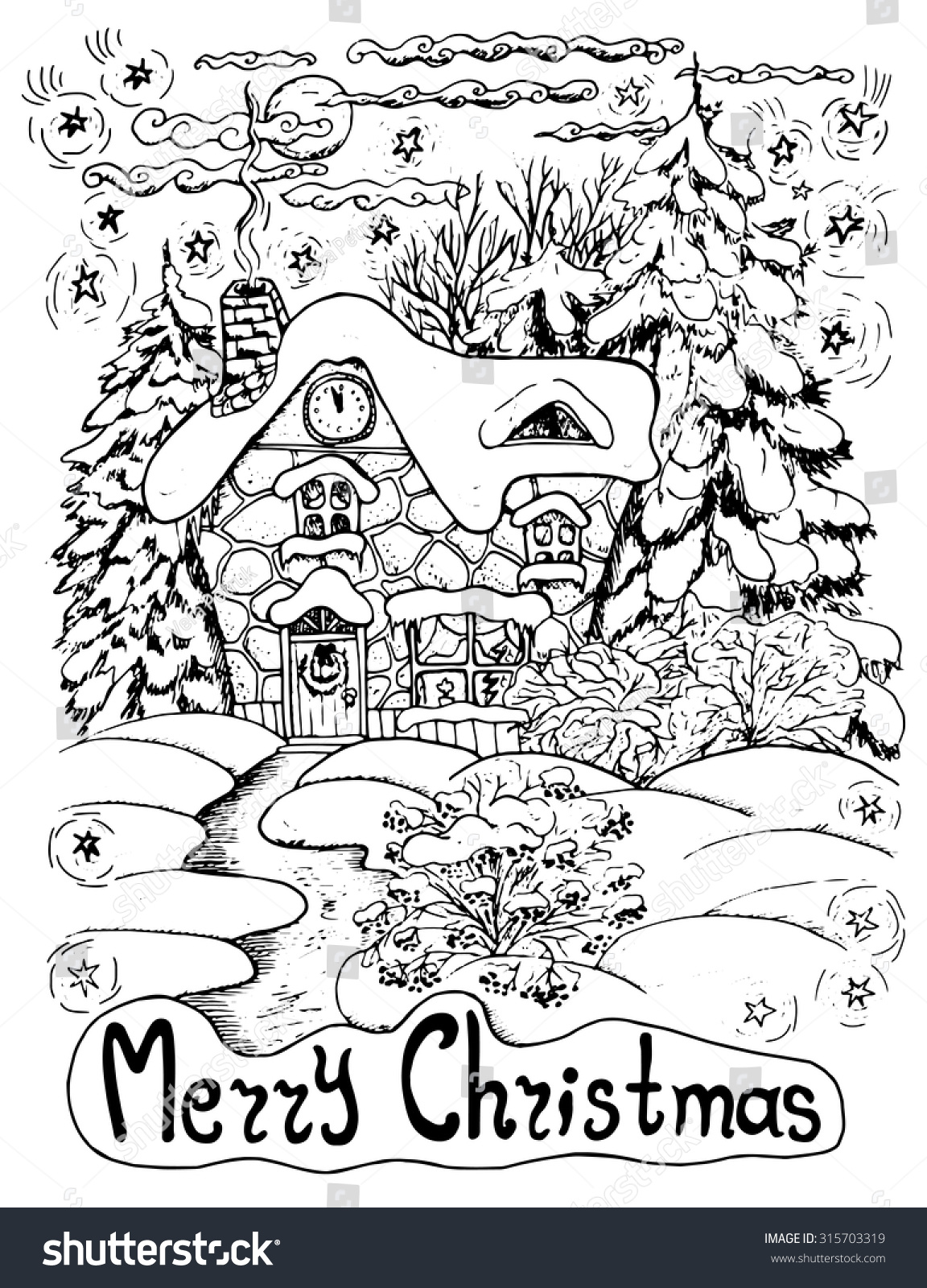 Black White Christmas Card House Conifers Stock Vector (Royalty Free ...