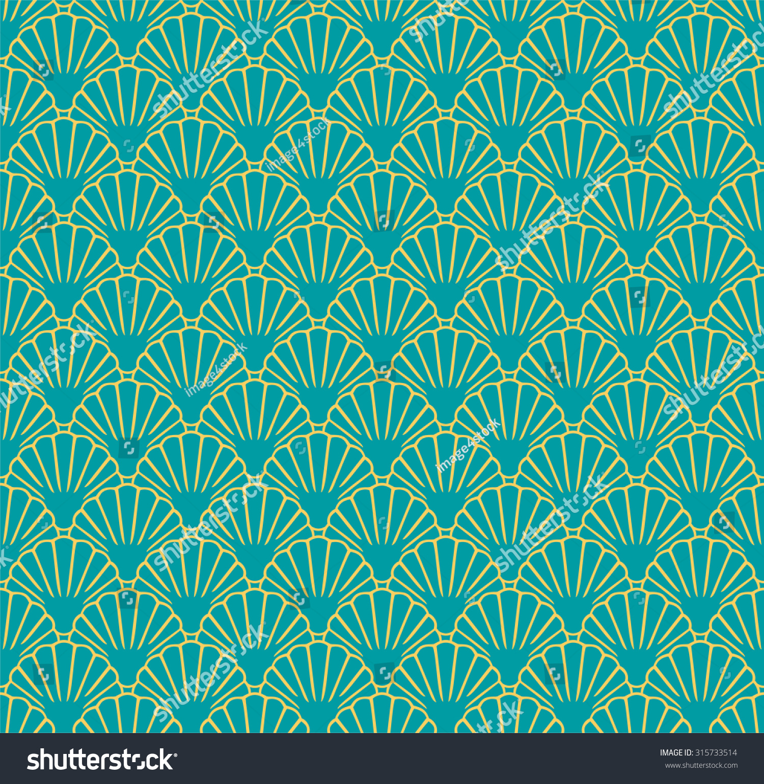 Sea Shell Seamless Pattern Japanese Chinese Vector de stock (libre ...