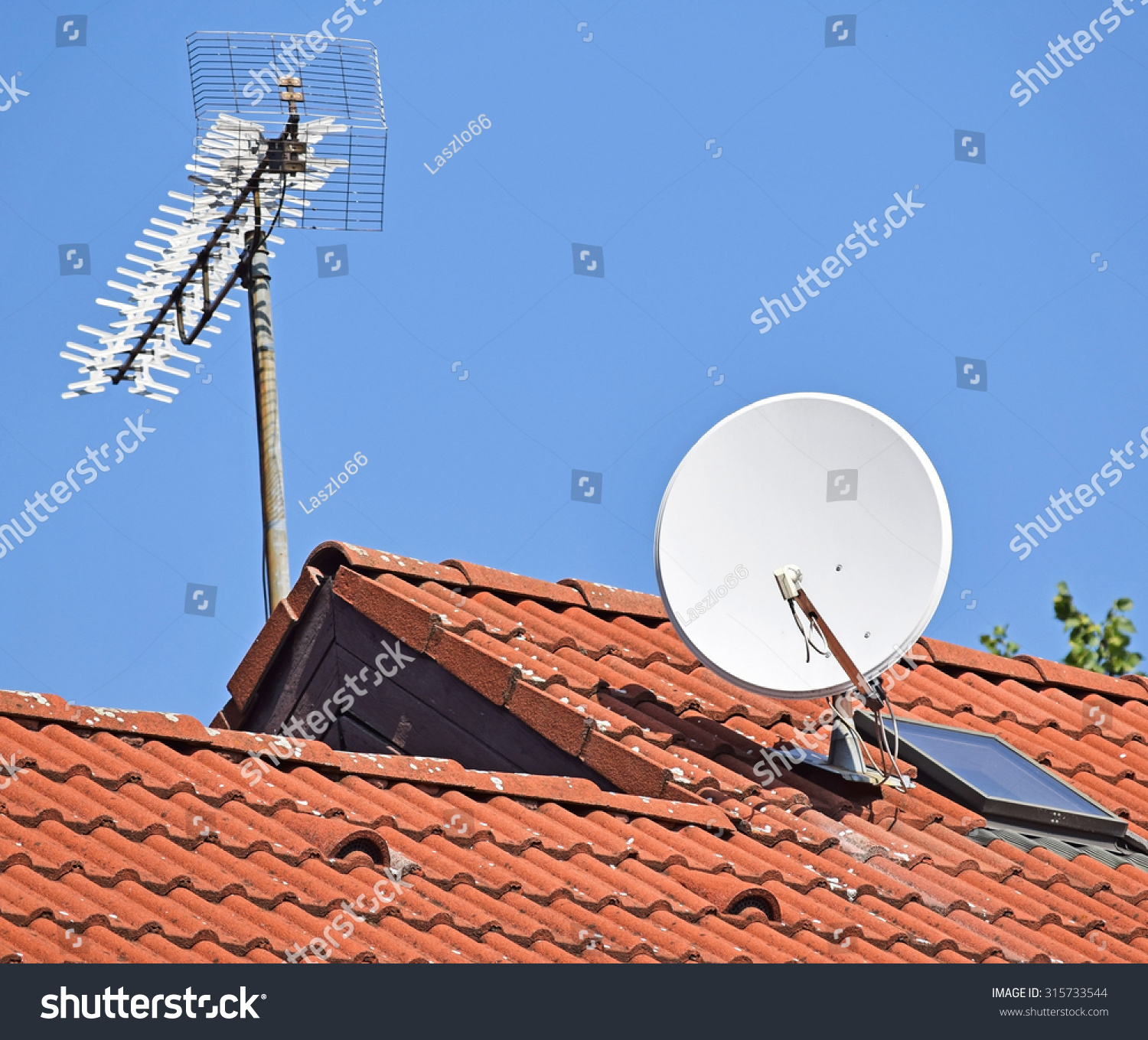 Antennas On The Roof Of A House