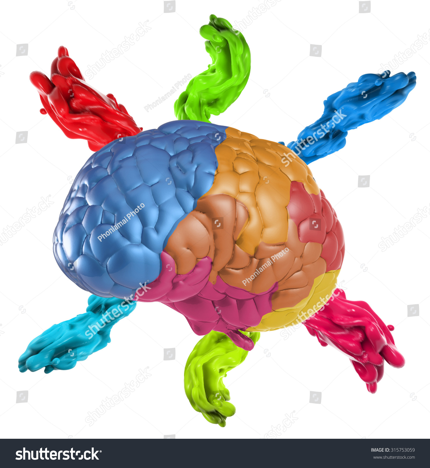 Creative Concept 3 D Rendered Colourful Brain Stock Illustration ...