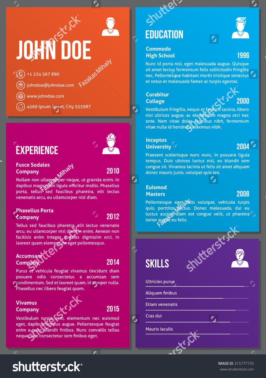 metro design curriculum vitae cv resume stock vector  metro design curriculum vitae cv resume template