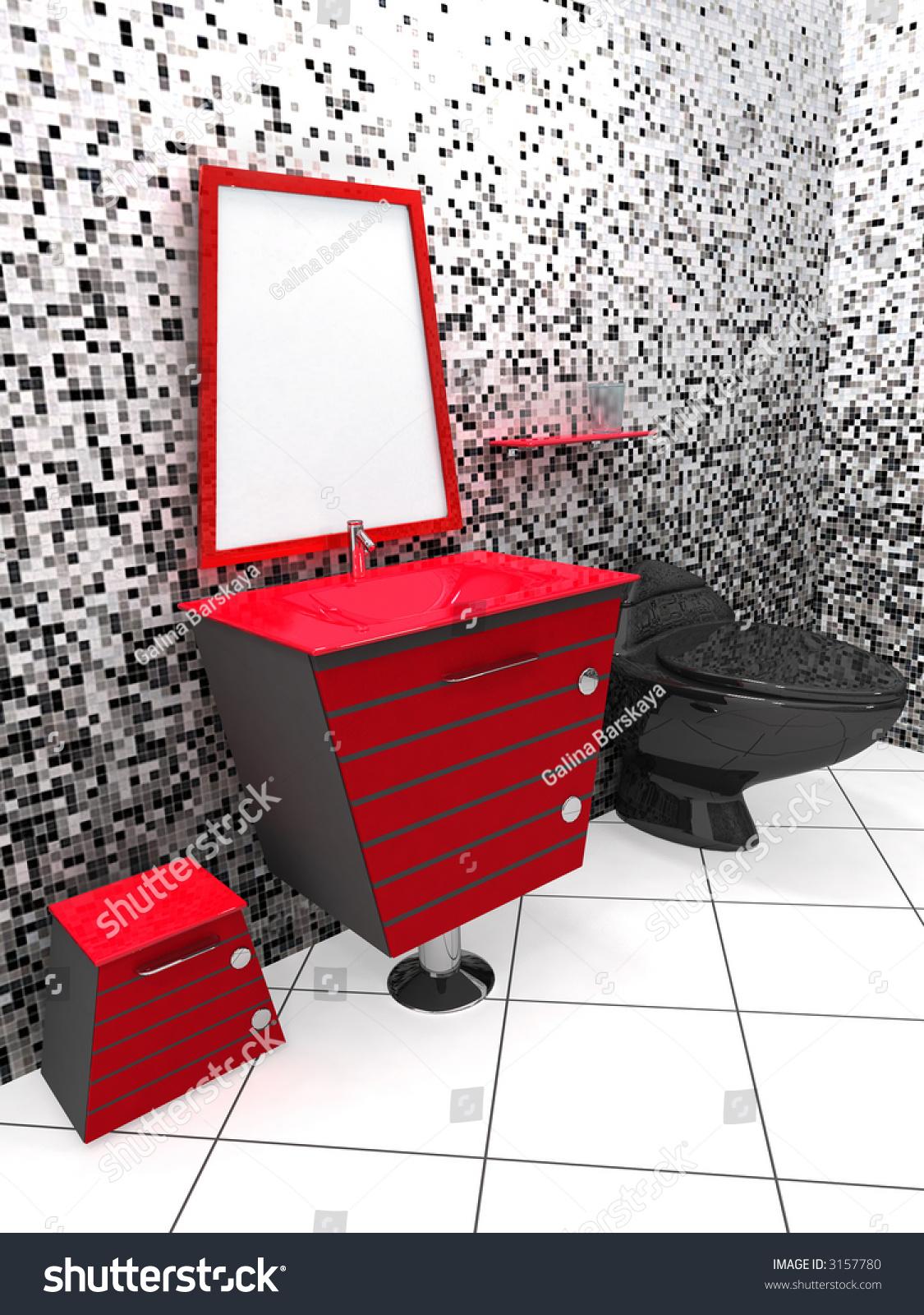 Red And Black Bathroom Winda  Furniture - Red black bathroom