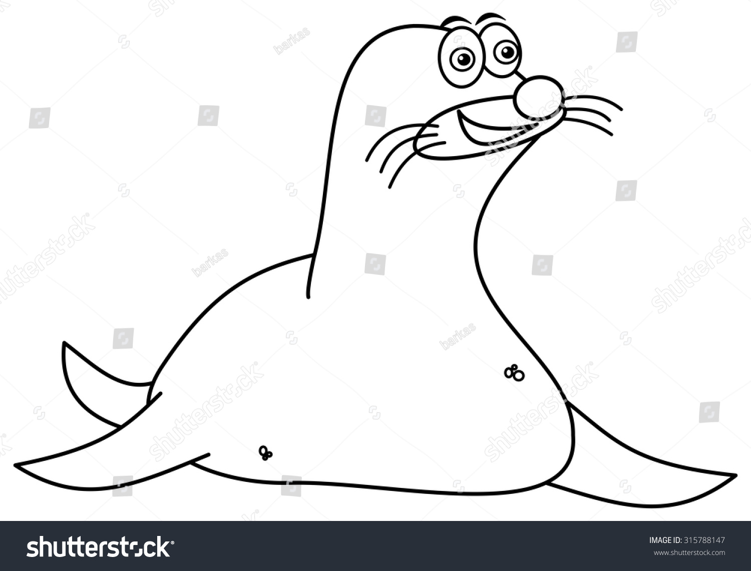 smiling sea lion for coloring