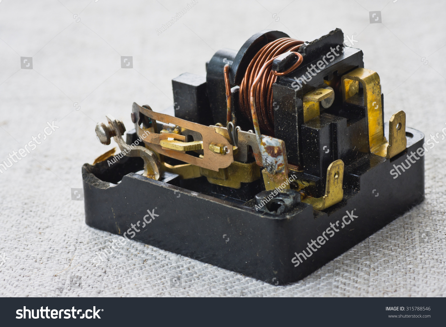 Old Electrical Relay Protection Against Overloads Stock Photo Edit For