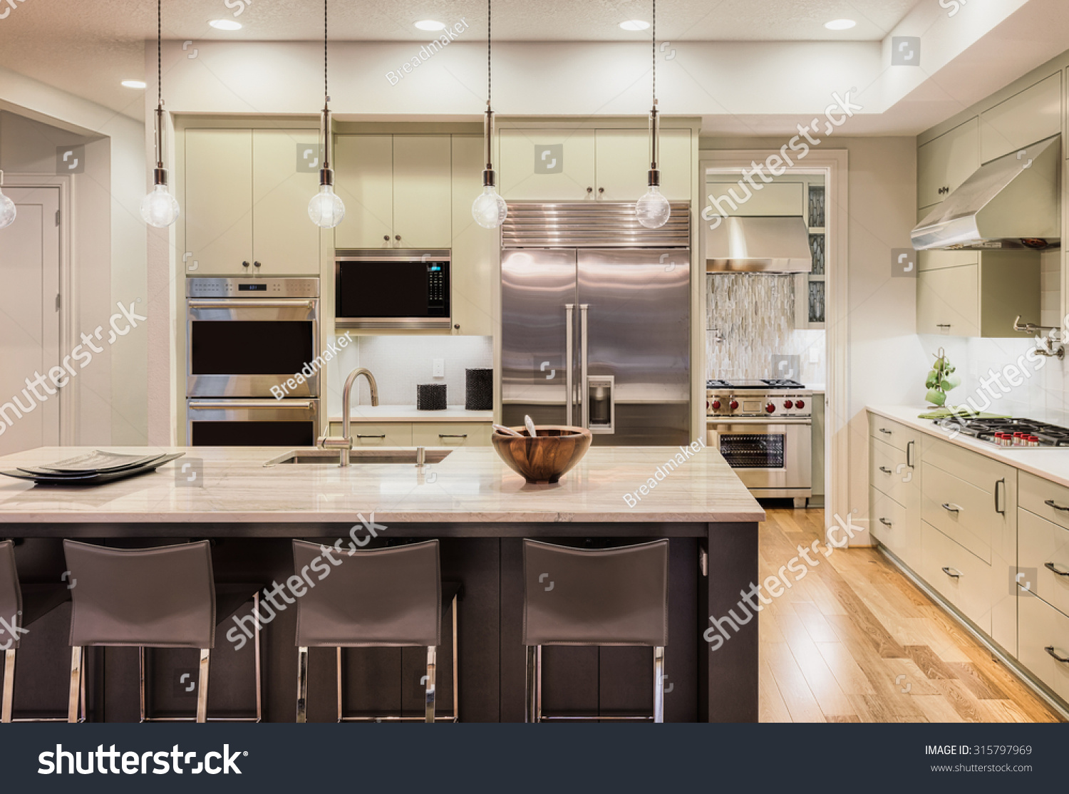 Beautiful Kitchen Interior New Luxury Home Stock Photo