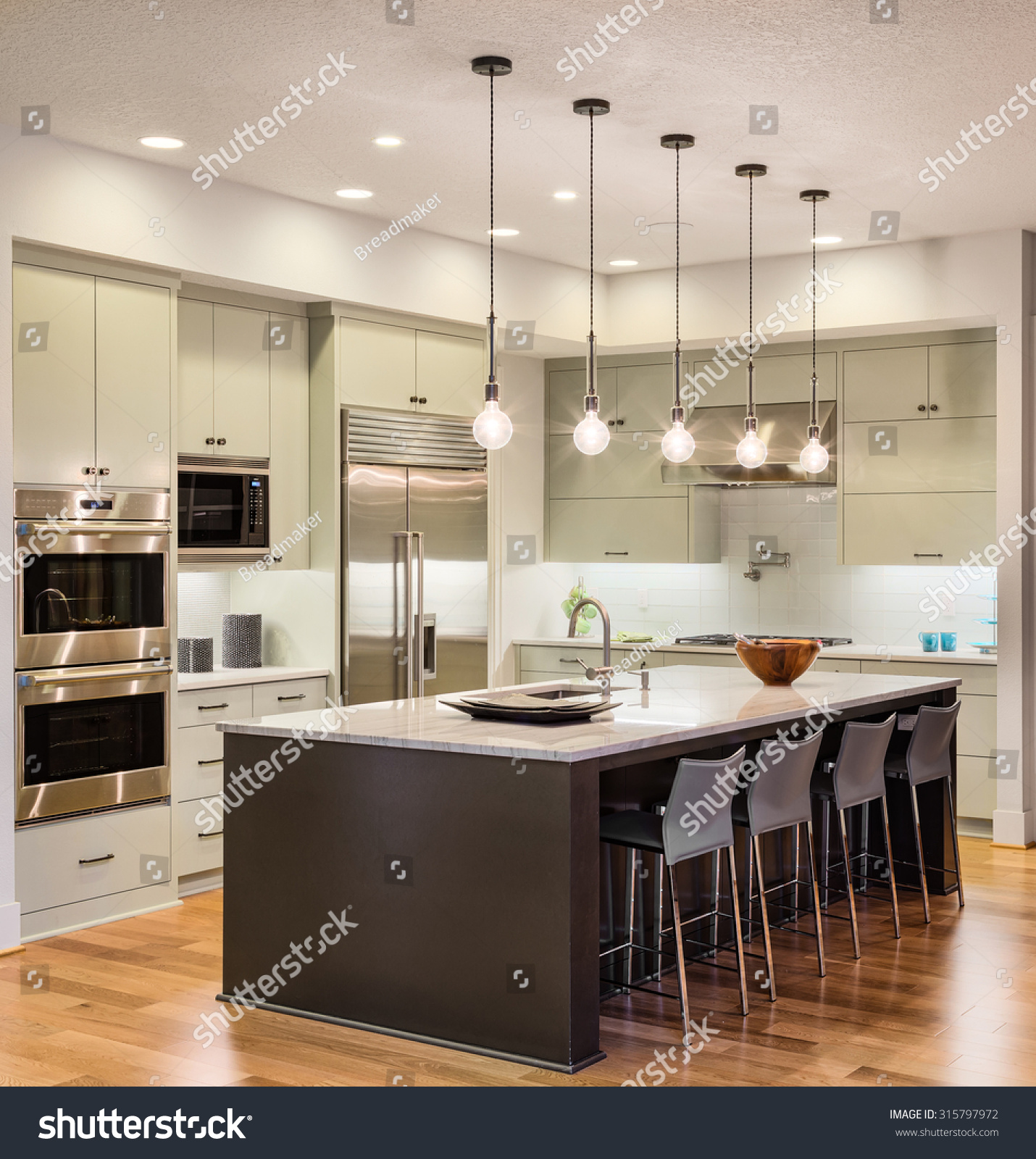 Stainless Steel Kitchen Pendant Light Beautiful Kitchen Interior New Luxury Home Stock Photo 315797972