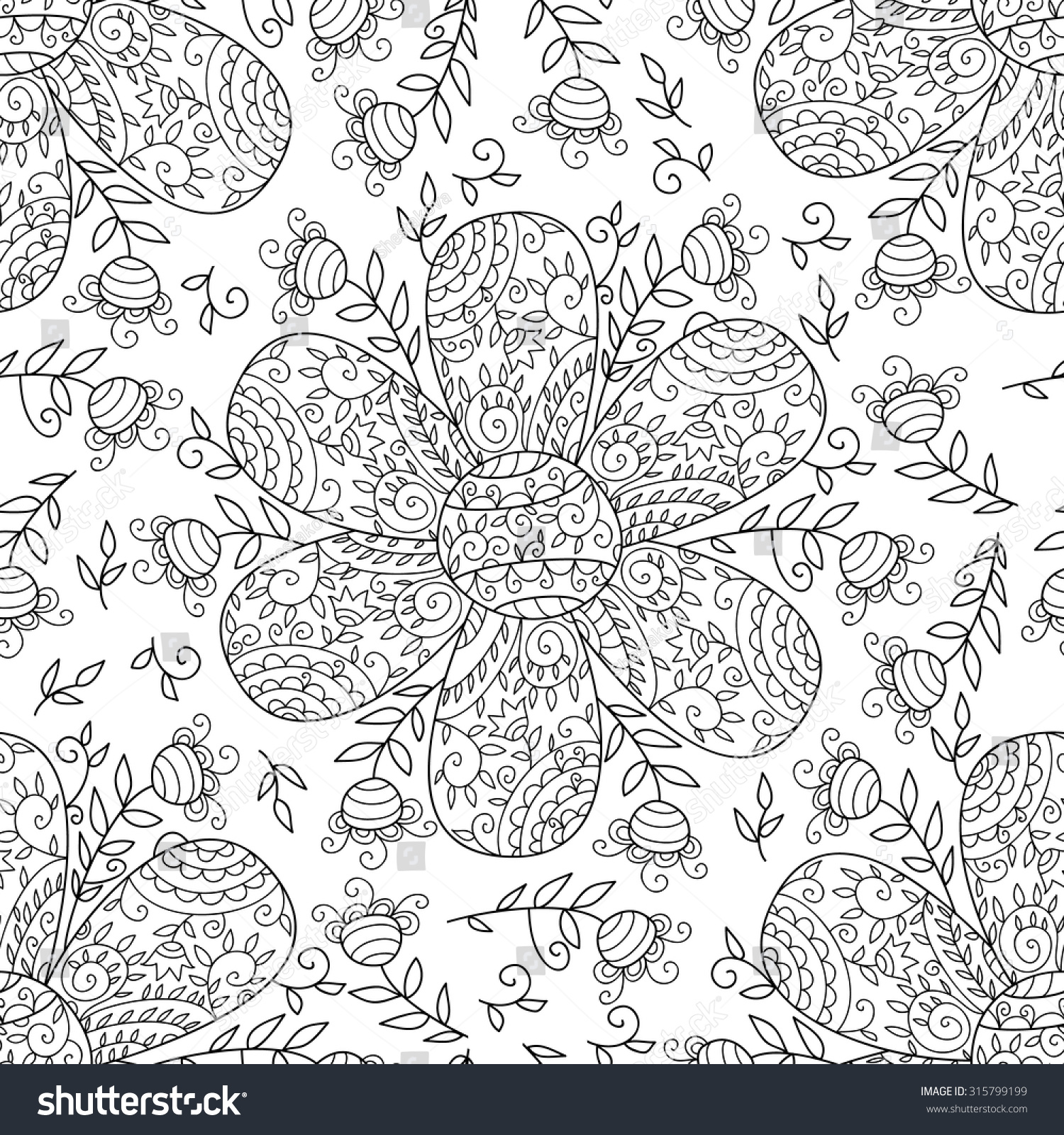 Vector Flower Seamless Pattern Simple Floral Stock Vector Royalty