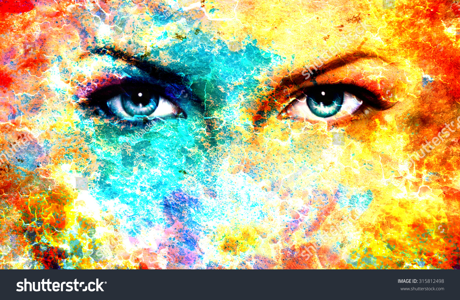 woman eyes on abstract color backgroundsのイラスト素材 315812498