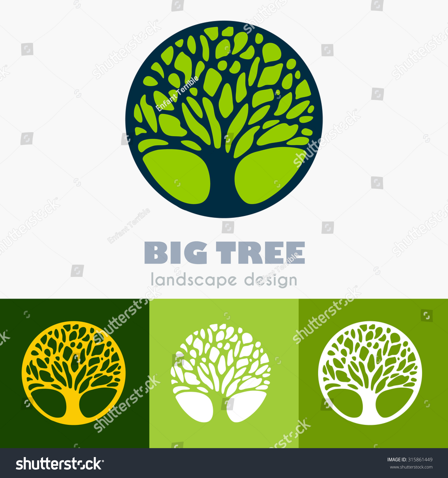 Landscape Commercial Sign: Abstract Tree Business Sign Vector Template Stock Vector 315861449