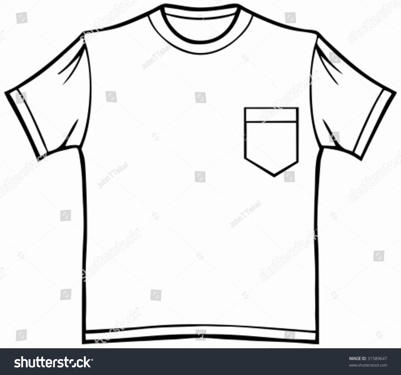 Pocket T Shirt Line Art Of A