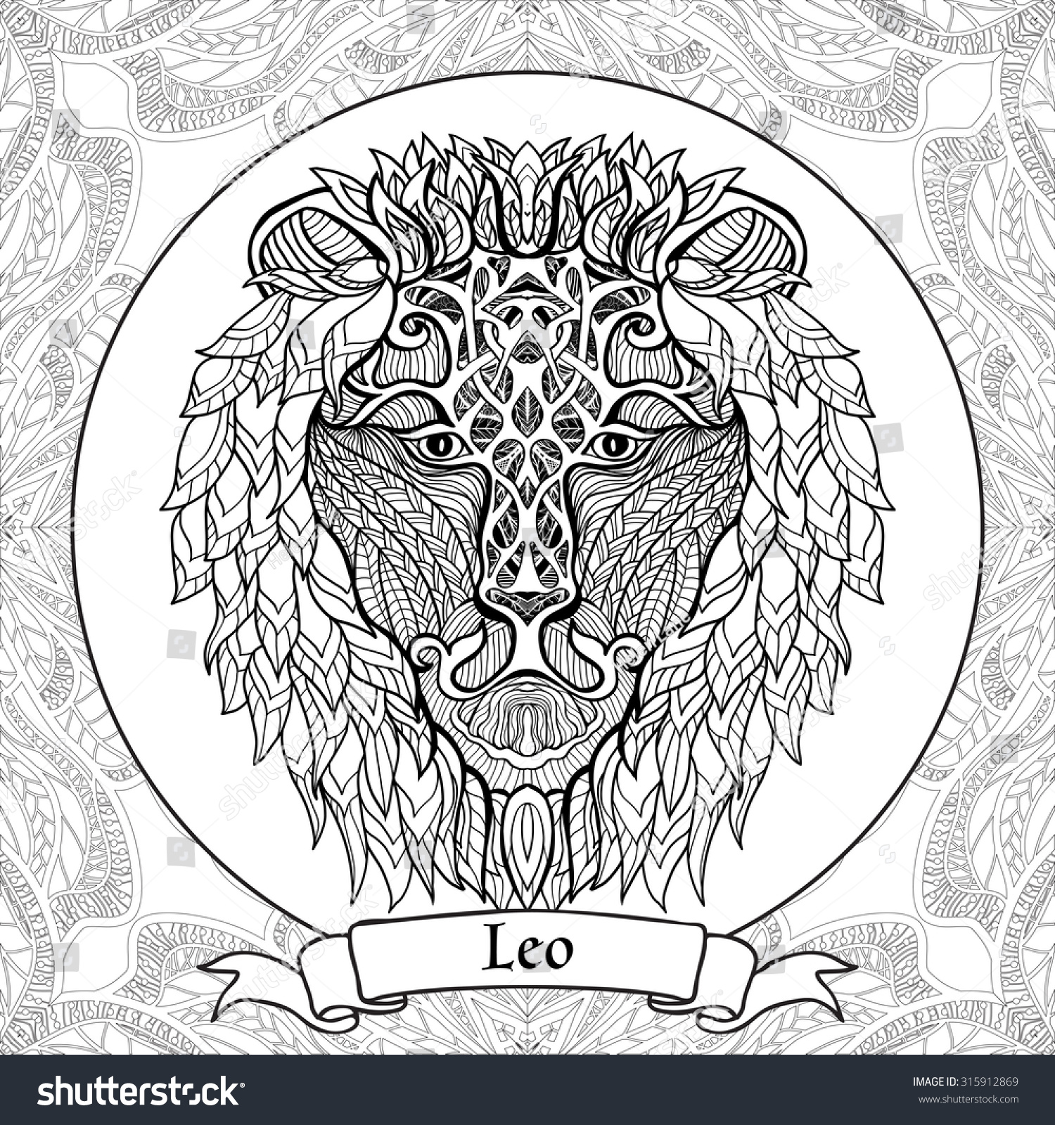 Coloring page with pattern and zodiac sign leo in for Leo coloring pages