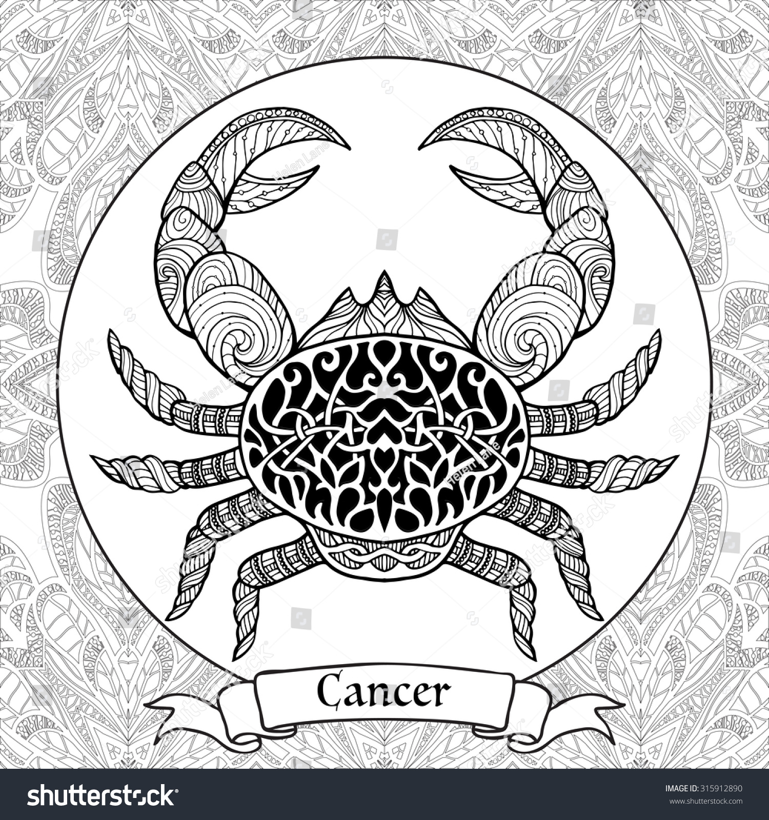 clip art cancer coloring pages coloring page pattern zodiac sign cancer stock vector 315912890 with and