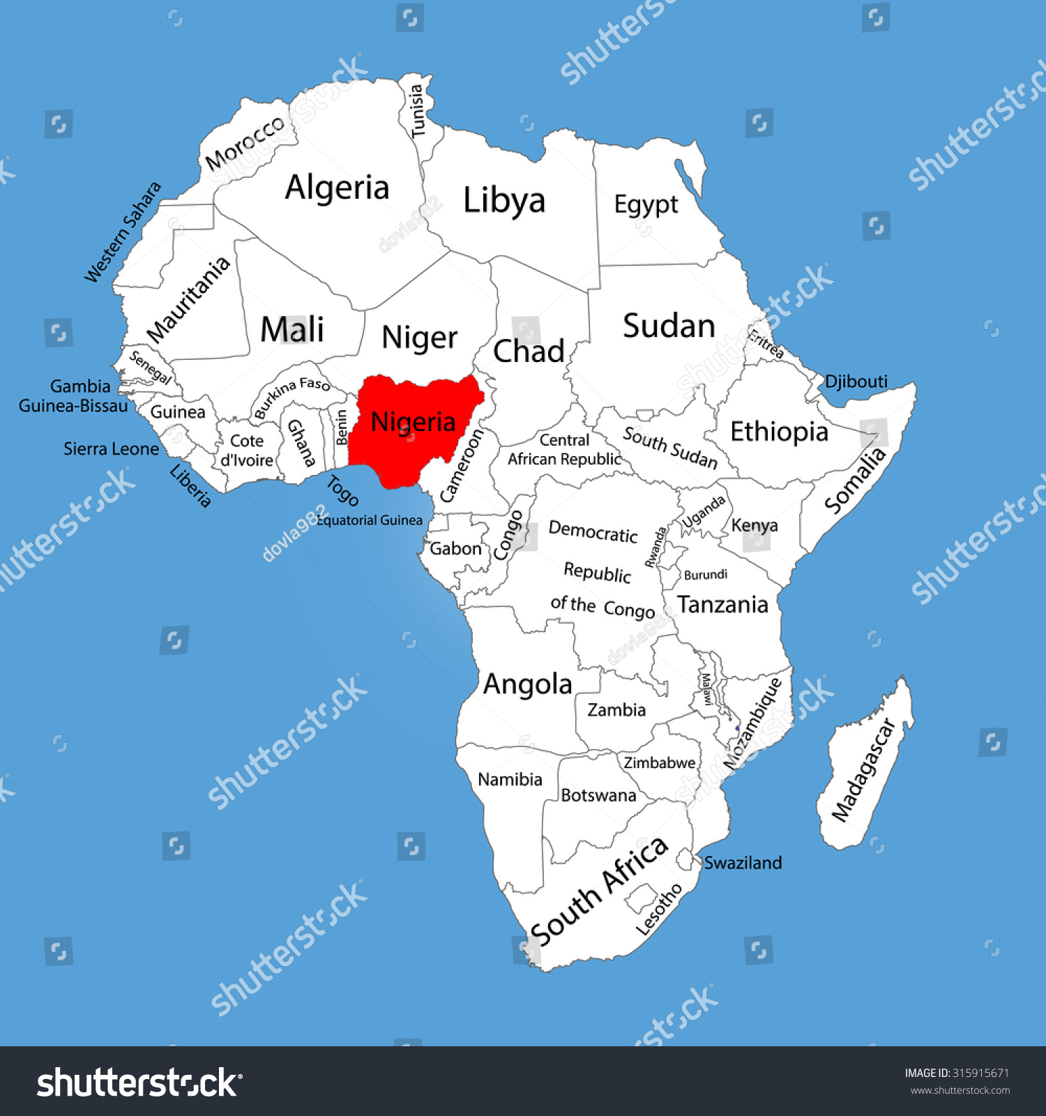 Nigeria Vector Map Silhouette Isolated On Stock Vector (Royalty Free ...