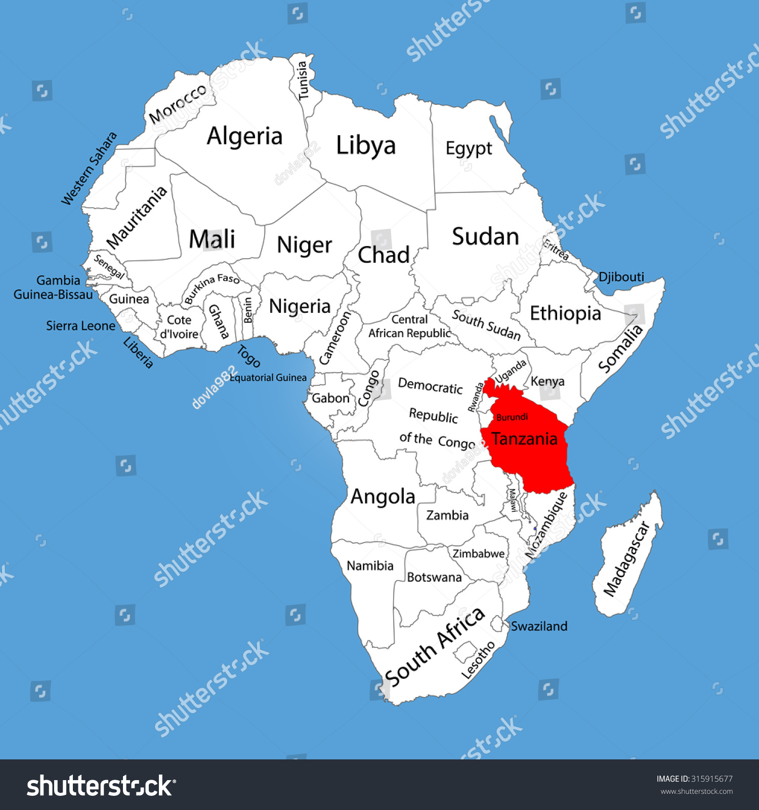 Tanzania On Africa Map.Tanzania Vector Map Silhouette Isolated On Stock Vector Royalty