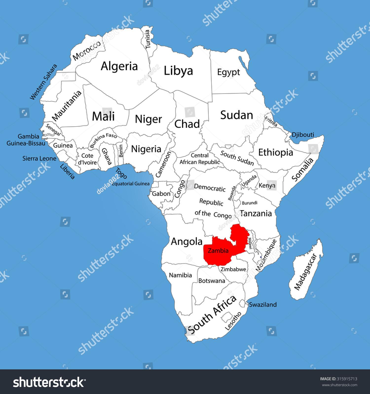 Picture of: Vector De Stock Libre De Regalias Sobre Zambia Vector Map Silhouette Isolated On315915713