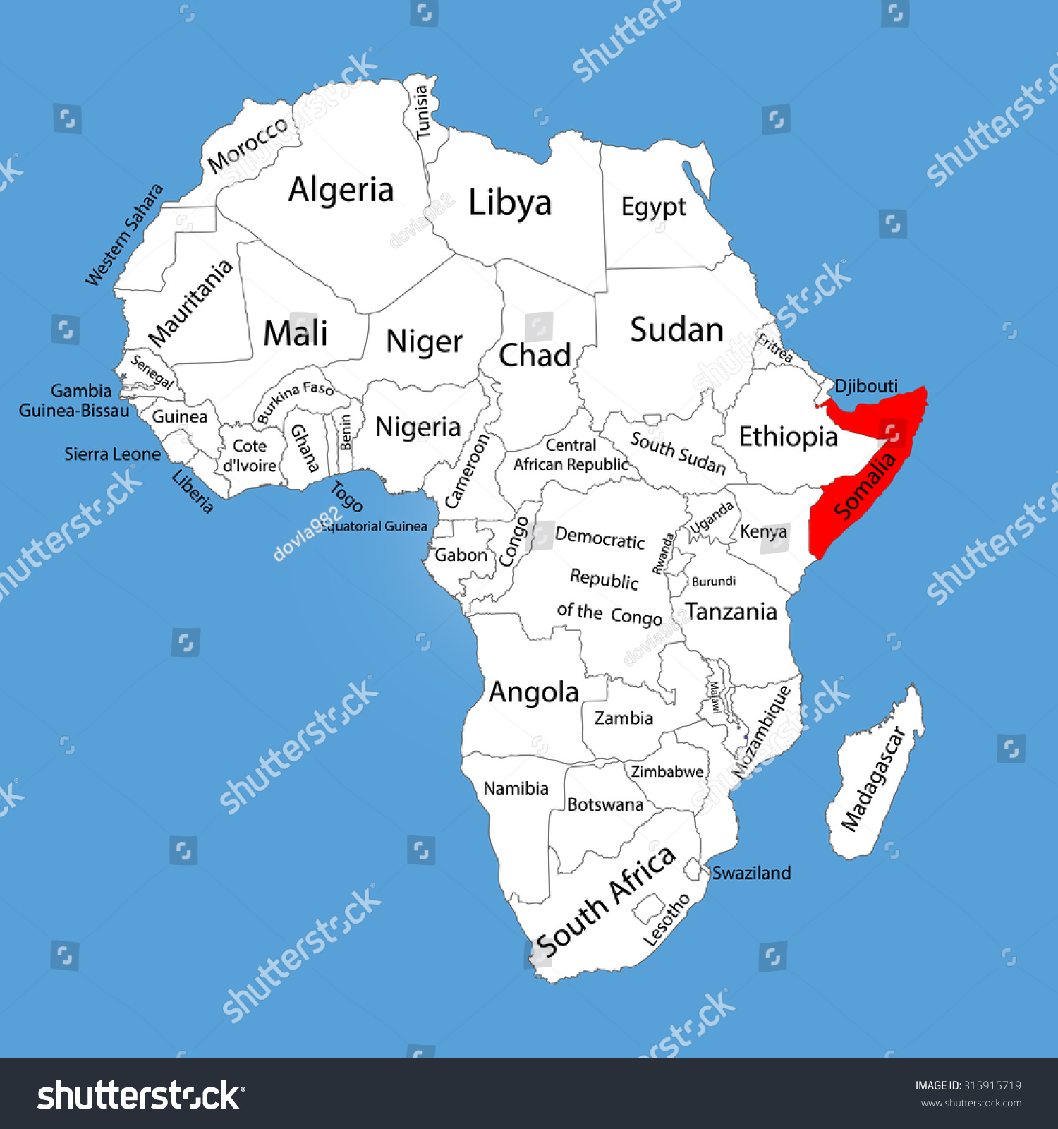map of africa showing somalia Somalia Vector Map Silhouette Isolated On Stock Vector Royalty map of africa showing somalia