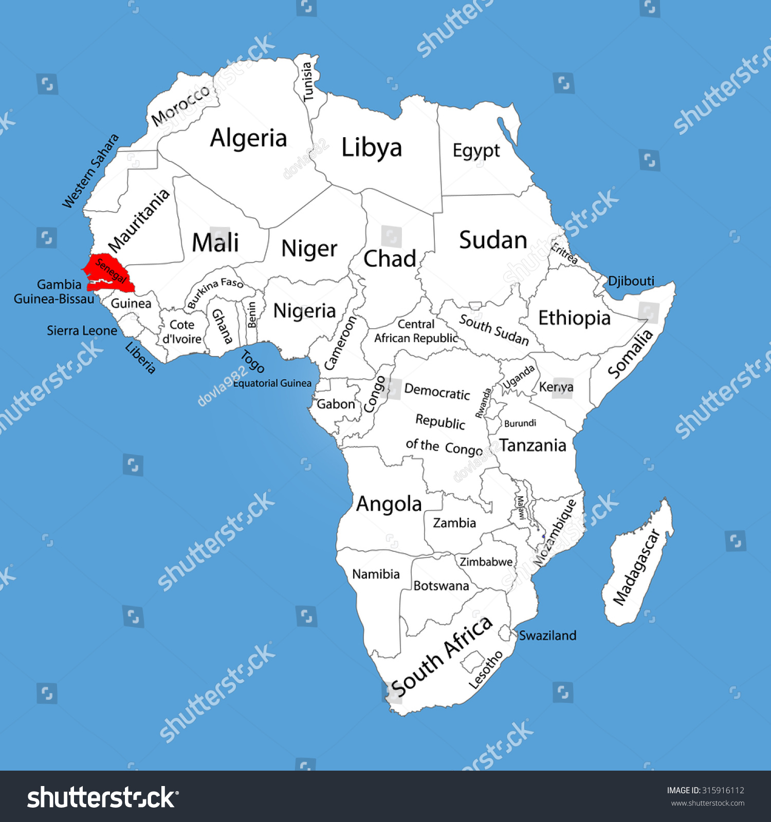 Map Of Africa Senegal.Republic Senegal Vector Map Silhouette Isolated Stock Vector