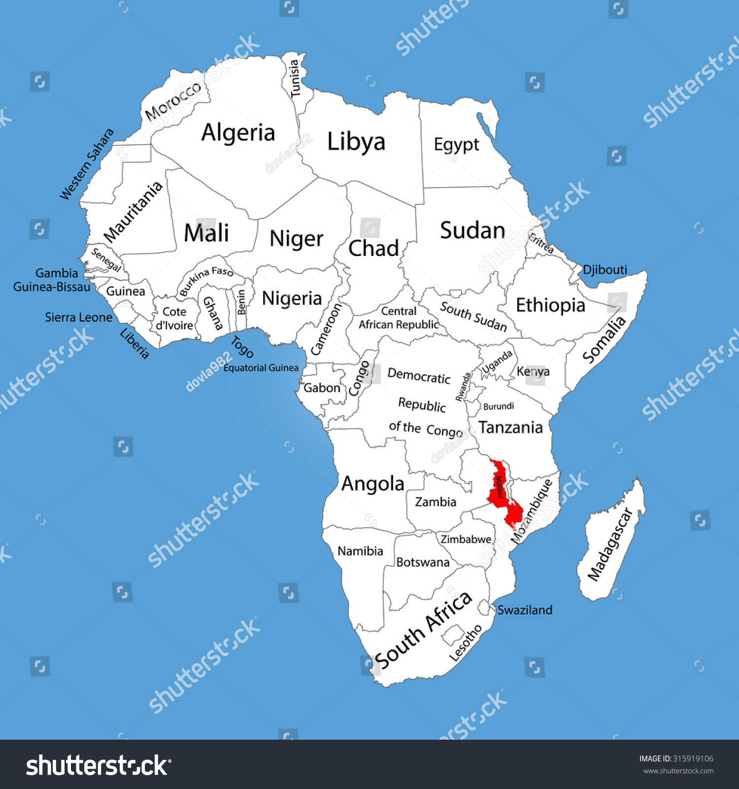 malawi south africa map Malawi Vector Map Silhouette Isolated On Stock Vector Royalty malawi south africa map