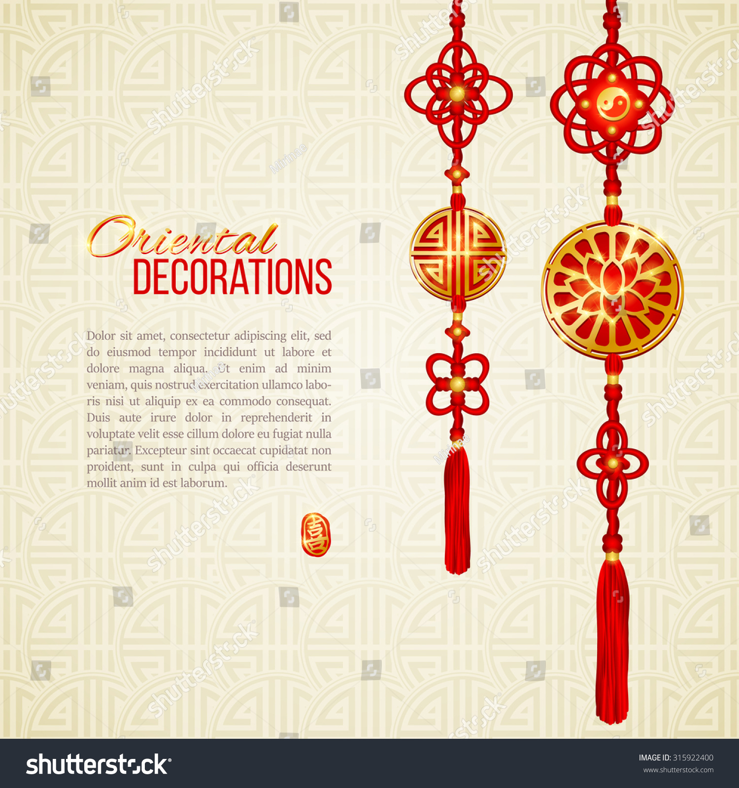 Royalty free oriental asian red and golden tassel 315922400 lotus image yin yang symbol and knot elements stamp with chinese hieroglyph for joy perfect decor for asian new year or harvest festival vector biocorpaavc Images