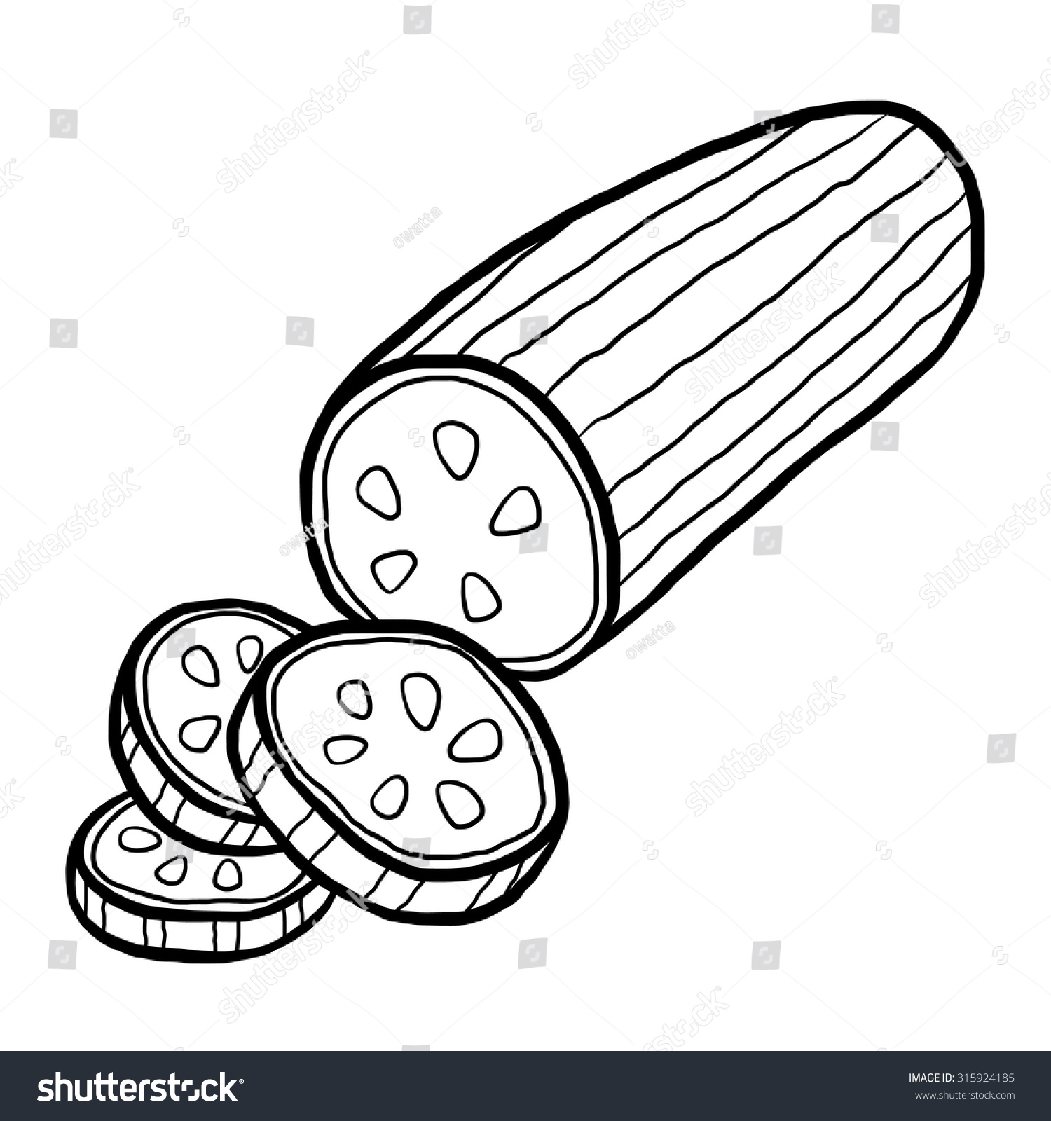 Cucumber Cartoon Vector Illustration Black White Stock Vector HD ... for Drawing Cucumber  56bof