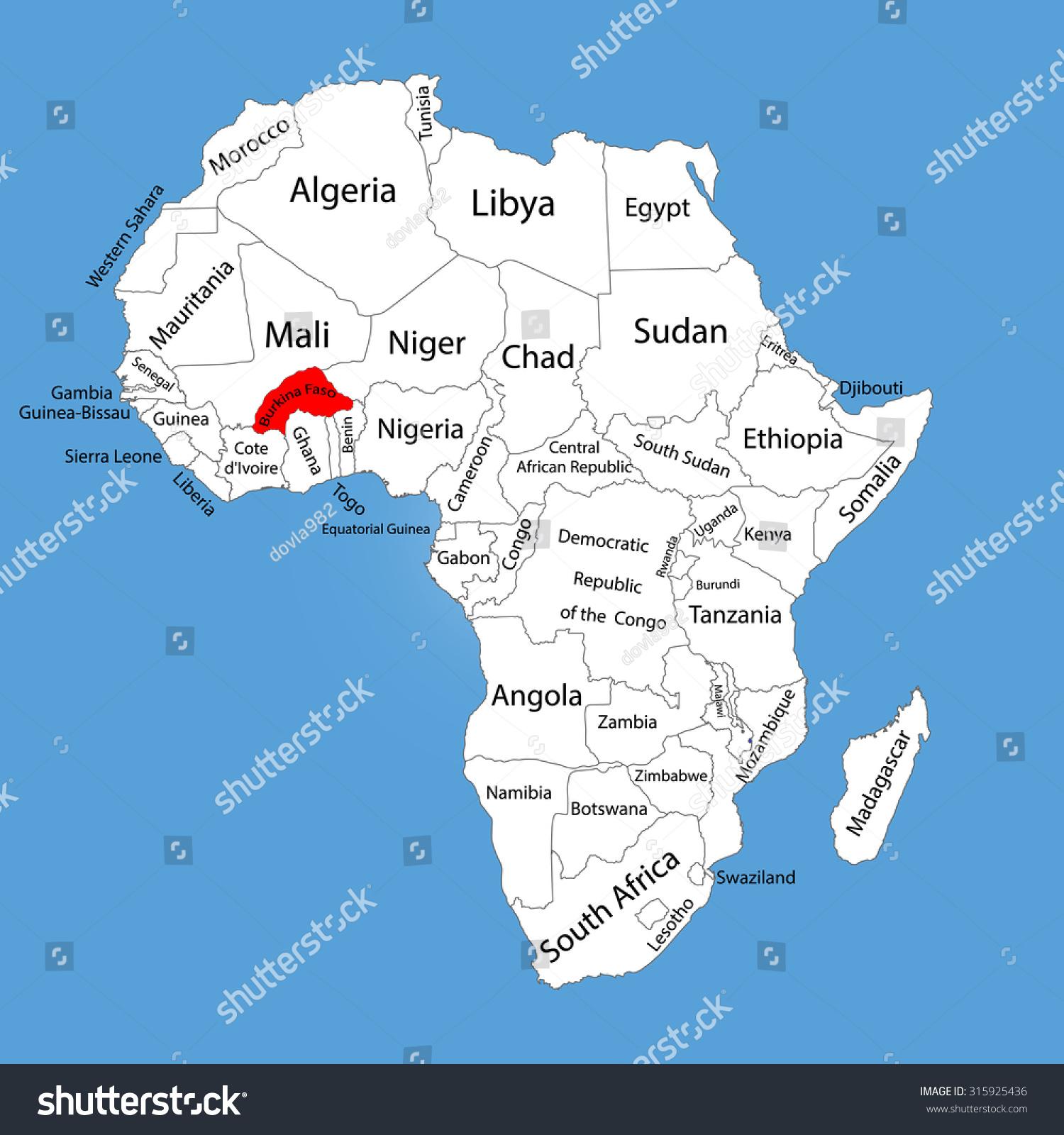 Burkina Faso Vector Map Silhouette Isolated Stock Vector - Burkina faso map
