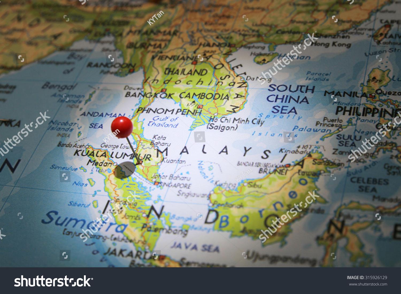 Map Pin On Kuala Lumpur City Stock Photo 315926129 Shutterstock