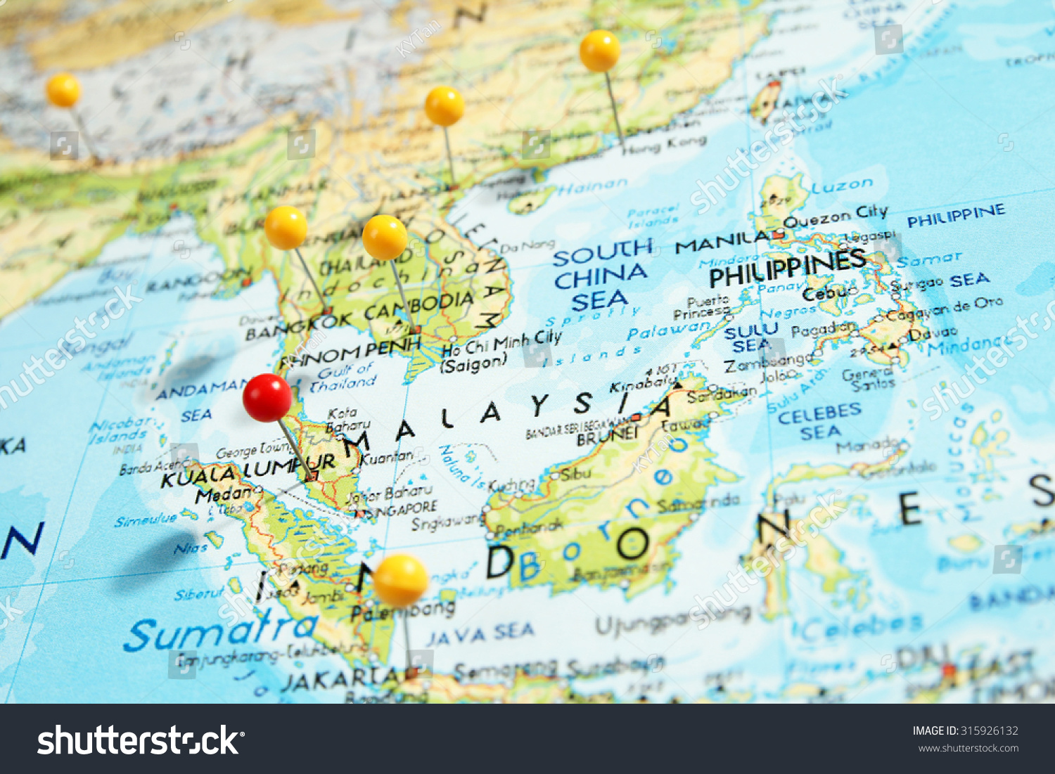 Pins On Map Focus On Kuala Stock Photo 315926132 Shutterstock