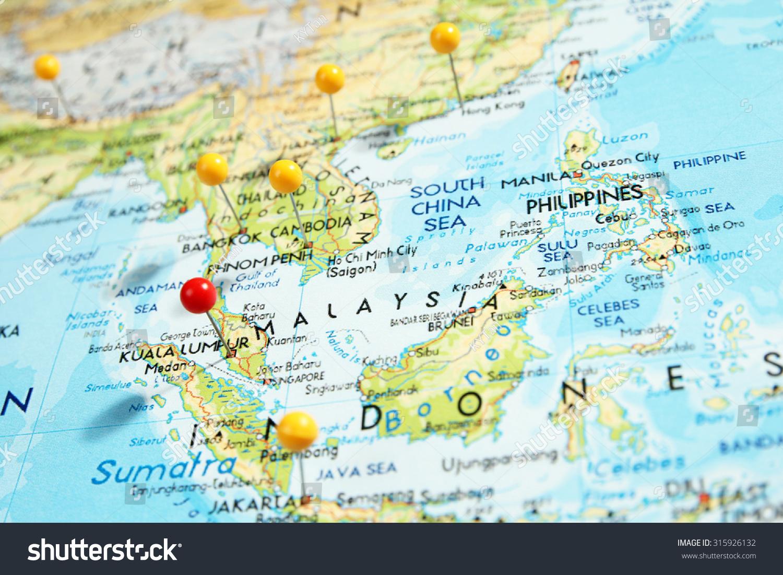 Pins On Map Focus On Kuala Stock Photo 315926132 Shutterstock