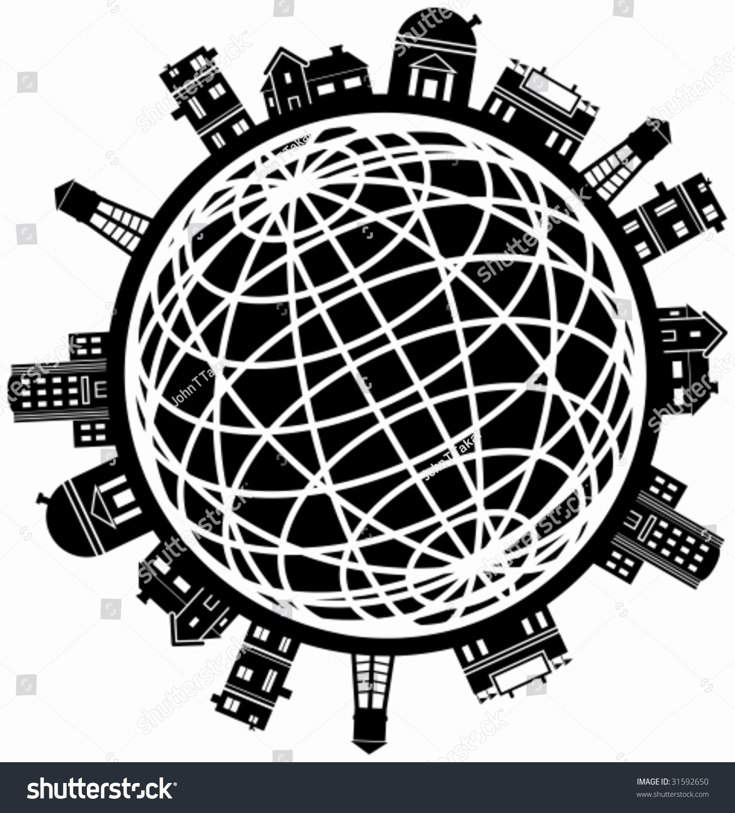 Building Globe Line Art Set Structure Stock Vector (Royalty Free ...