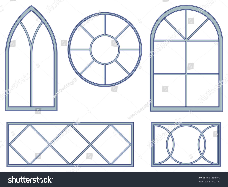Set of five blueprints of decorative vector window designs for Window design vector