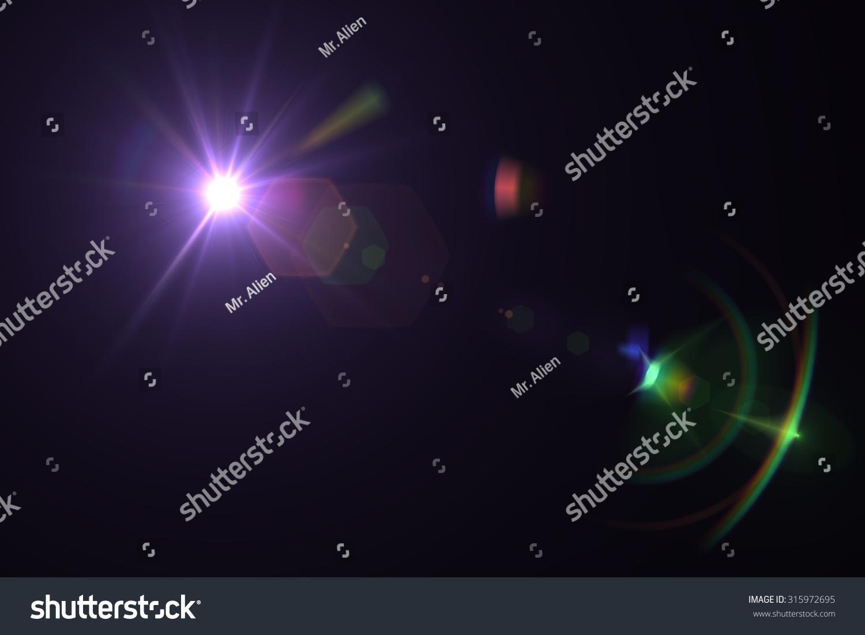 digital lens flare in black background horizontal frame warm #315972695