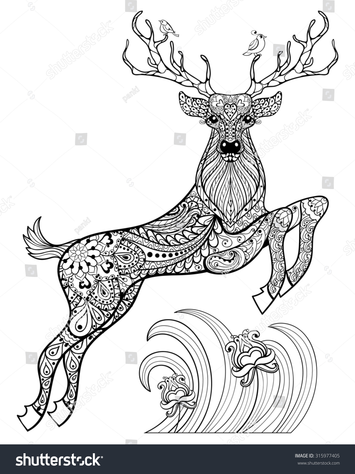Hand drawn magic horned deer birds stock illustration for Deer coloring pages