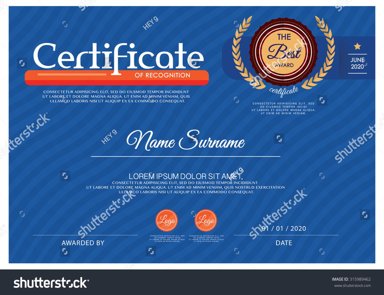 Blue Certificate Vector Certificate Template Stock Vector 315989462