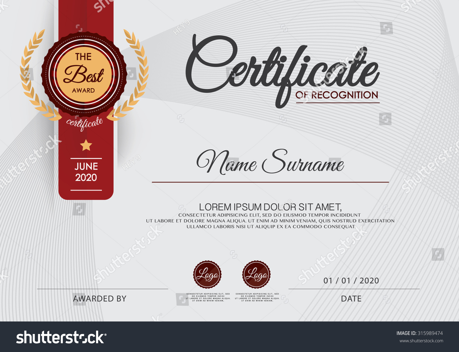 Certificate achievement frame design template stock vector for Template for a certificate of achievement