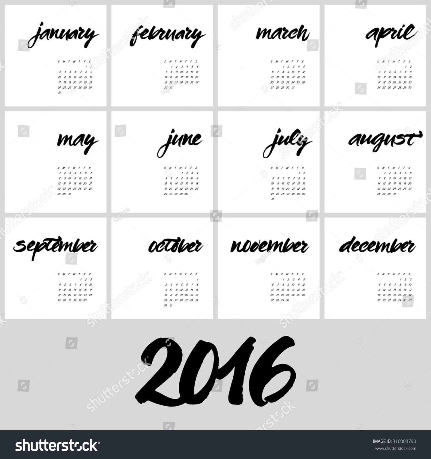 Calendar template hand painted names of months