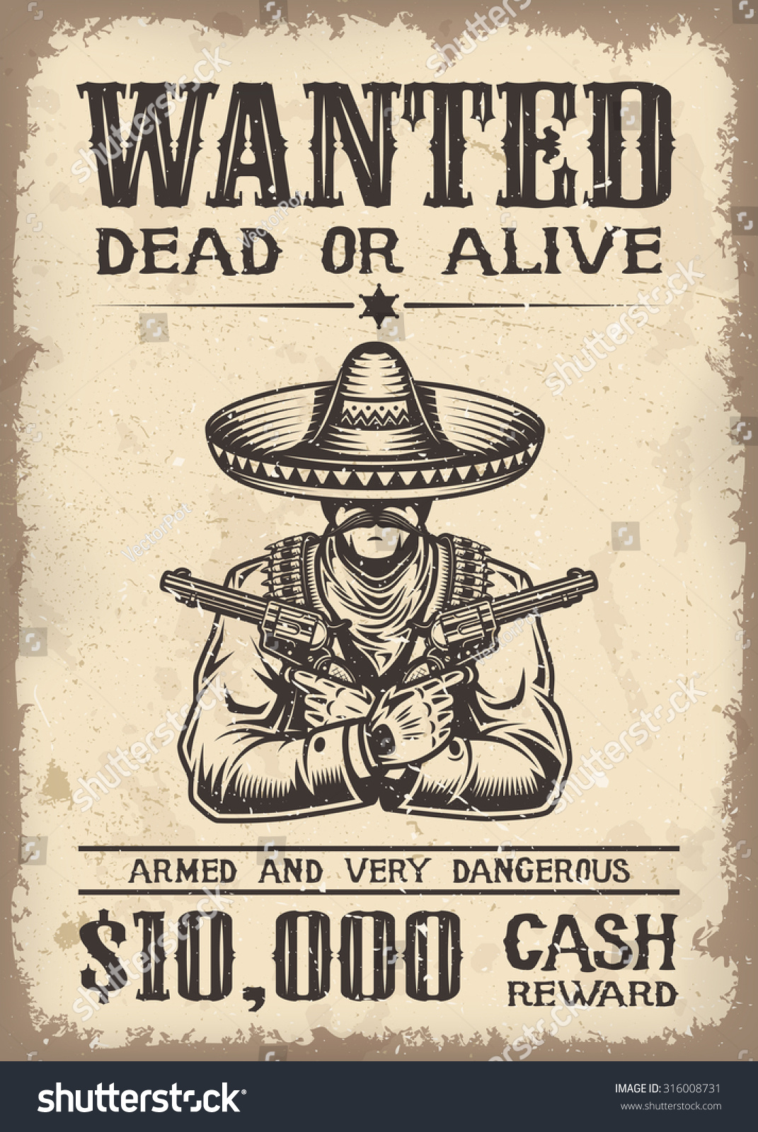Vintage Wild West Wanted Poster Old Vector 316008731 – Picture of a Wanted Poster