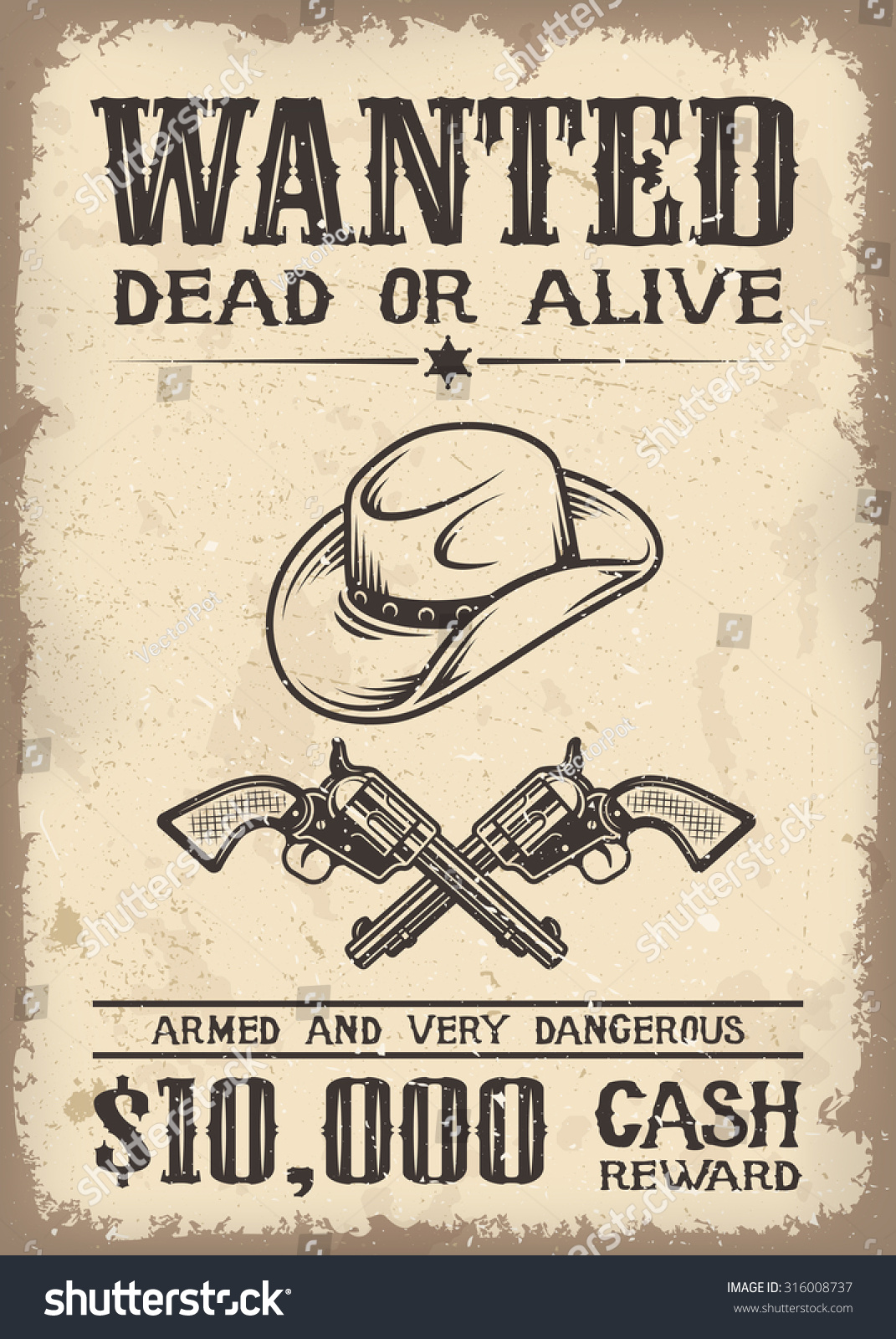 Vintage Wild West Wanted Poster Old Stock Vector 316008737 ...